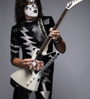 Wholesale explorer string for sale - Limited Edition Tommy Thayer White Lightning Explorer Outfit Metallic White Electric Guitar Seymour Humbuckers Pickups Mirror Pickguard