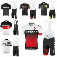 Wholesale team cycling jersey bibs resale online - Crossrider summer SCOTT cycling jersey Red white team bike wear clothes MTB Ropa Ciclismo pro cycling clothing mens short bib sets