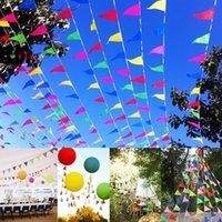 drapeaux colorés achat en gros de-Coloré Triangle Drapeaux Suspendus Fanions Drapeaux Chaîne Banderoles Fêtes D'anniversaire Fournitures De Fête Maternelle Camping Événement Décoration Drapeau