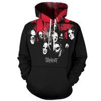 siyah ağır metal toptan satış-YOUTHUP 2018 3d Hoodies Erkekler Slipknot Baskı Kapüşonlu Tişörtü Erkekler Serin Kaya Kazak Ağır Metal Band Siyah Hoodies Streetwear