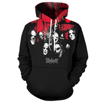 крутые черные толстовки оптовых-YOUTHUP 2018 3d Hoodies Men Slipknot Print Hooded Sweatshirts Men Cool Rock Pullover Heavy Metal Band Black Hoodies Streetwear