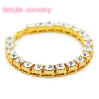 Wholesale cutting tin - Men Hip Hop Iced Out Bracelet Shining 1 Row 8MM Round Cut AAA Rhinestones Tennis Bracelets Men's Bling Bling Bangle