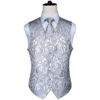 ingrosso panciotto paisley-Classico uomo Paisley Jacquard Gilet Gilet Hankerchief Feste di nozze Tie vest Suit Pocket Square Set New