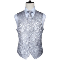 Wholesale wedding waistcoats ties resale online - Men s Classic Paisley Jacquard Waistcoat Vest Hankerchief Party wedding Tie vest Suit Pocket Square Set New