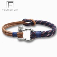 bracelete de escalada venda por atacado-Homens da moda Pulseiras De Couro de Aço Inoxidável Fecho de Sobrevivência Escalada Corda Pulseira de Jóias Artesanais