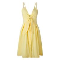 boho dantel maxi beyaz elbiseler toptan satış-Sıcak Satış Kadınlar Derin V Hollow Out Yaz Elbise Beachwear Tatil Bölünmüş Dantel-up Elbise Kaftan Beyaz Boho Uzun Maxi Elbiseler Mayo