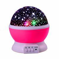 çocuk masa lambaları toptan satış-LEDERTEK Yıldız Yıldızlı Gökyüzü LED Gece Işığı Projektör Luminaria Ay Yenilik Masa Gece Lambası Pil Çocuklar Için USB Gece ...