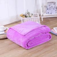 Wholesale King Pink Blanket - Home Textile Pink Sofa Bedding Coral Fleece Blanket Throw Winter Soft Warm Bedsheet 100*140cm 150 180*200cm 200*230cm 13Colors