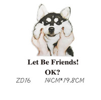 Wholesale friends hoodies - Let's Be Friend Dogs Stickers T-shirts And Hoodies Funny DIY Stickers Men Women Couples Love Patches Iron-on Transfers Patches For Clothes