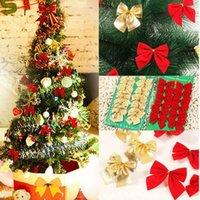 kravat dekoru toptan satış-12 adet / takım Noel Ağacı Tie-on Yay Süslemeleri 5 cm Polyester Asılı Süsleme Parti Festivali Dekor Ev Parti Malzemeleri