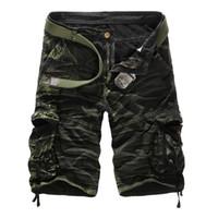 markalı kargo pantolonları toptan satış-Erkekler Kamuflaj Kargo Şort Marka Erkek Ordu Gevşek Kargo Pantolon Erkekler Rahat Çalışma Kısa Pantolon Artı Boyutu Hiçbir Kemer