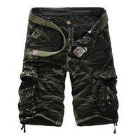 Wholesale fashion cargo - Men Camouflage Cargo Shorts Brand Male Army Loose Cargo Pants Men Casual Work Short Pants Plus Size No Belt