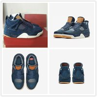 Wholesale Men Size 13 Casual Shoes - NEW 2018 With Red Box 4 Denim x Blue Black White Men's Basketball Shoes for AAA+ quality 4s IV Top Casual Sports Sneakers Size 7-13
