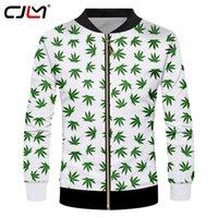 куртки прохладно воротник оптовых-CJLM мужские куртки прохладный печати листья цветы 3d куртка повседневная пальто мужской хип-хоп с длинным рукавом кардиган стенд воротник пуловеры