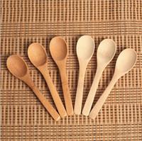 cucharas de mermelada al por mayor-Nueva cocina delicada con Condimento Jam Cuchara Cuchara de café Cuchara de miel pequeña con bebé de madera 12.8 * 3cm