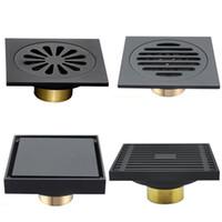 kullanılan ekler toptan satış-Modern Saf Siyah Görünmez Duş Yer Sifonu / Banyo Balkon Kullanımı Pirinç Malzeme Hızlı Drenaj Çini Eklemek Kare Sifonları