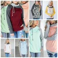 Wholesale double zipper coat - Double Hooded Pocket Pullover Sweatshirt Tops 10 Colors Women Pullover Hoodie Side Zipper Patchwork Drawstring Sweatshirt Coat 6pcs OOA4711