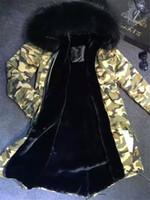 ingrosso cappuccio lungo della maglia di pelliccia-Cappotto mimetico militare Giacca lunga elegante di nuovo stile foderata in pelliccia sintetica nera e grande cappuccio in vera pelliccia di volpe Parka Mr Mrs in pelliccia mimetica