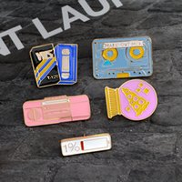 Wholesale Pizza Jacket - Cartoon Brooch Power Pizza ball VHS Tape Recorder Enamel pins Fashion Metal Backpack Jacket Lapel Pin Badge Jewelry Gift