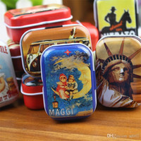 Wholesale small pill boxes resale online - Tinplate Metal Rectangle Mini Iron Box Sundries Pill Jewelry Candy Organizer Small Retro Lovely Storage Boxes wz bb