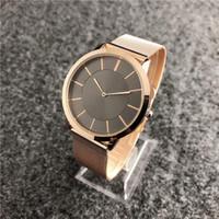 тонкий черный пояс оптовых-relogio masculino 40 мм розовое золото часы мужчины люксовый бренд повседневная мужская дизайнер простой черный циферблат ультра тонкий уникальный ткань сетки пояса часы