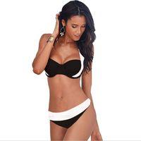 Wholesale Sexy Black Silk Bra - Swimwear Bikini Sexy Two Pieces Triangle Bikini Swimsuit Lady Sexy Swimsuit Padded Bra Bikini White M-2XL