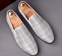 ingrosso scarpa stile mens alto tacco-Uomini di alta qualità in stile britannico in vera pelle plaid colori misti mens mocassini scarpe slittamento su tacco basso scarpe a punta scarpe taglia 38 ~ 43