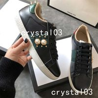 Wholesale pearl running - Ace Pearl and Stud-detail Embellished Leather Sneakers Watersnake-trimmed Loved Blind for Love Crystal Stud Trainers Shoes 24 Luxury Brand