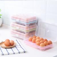 yumurta konteyneri toptan satış-Plastik Yumurta Saklama Kutusu Organizatör Buzdolabı Saklama 15 Yumurta Organizatör Kovaları Açık Taşınabilir Konteyner Depolama Yumurta Kutuları Ücretsiz kargo