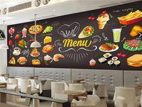 Wholesale kids mural painting resale online - Hand Paint Pizza Dessert Hamburger Decal Nonwoven Fabric Wall Sticker Large Mural Pasta Fast Foods Western Restaurant Wallpaper mn gg