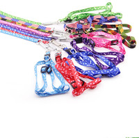 Wholesale harness pets online - Adjustable Nylon Printing Dog Leash With Multi Color Sturdy Leashes Pet Supplies Wear Resistant Puppy Harness Belt sh jj