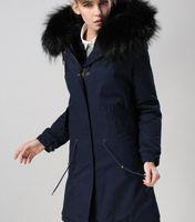 темно-коричневый мех оптовых-Классический черный кролик меховая подкладка темно-синий длинные женщины парки с черным енотом мех ykk молнии