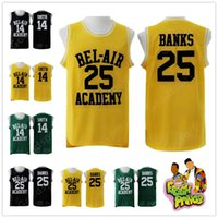 ingrosso aria di banca-CALDO Il fresco principe di Bel-Air Stitched 14 Will Smith Jersey Bel-Air Academy Basketball Jersey 25 Carlton Banks Maglie vintage camicie migliori