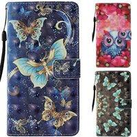 Wholesale 3d phone card online - Butterfly Printed D Wallet Cases for iPhone X XS Max XR Plus Kickstand Phone Cover Case for Samsung Galaxy Note9 S8