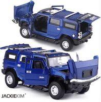 ingrosso hummer metal-1:32 Hummer H2 SUV modello di auto giocattolo in metallo pressofuso con pull back musicale lampeggiante per bambini giocattolo regali di compleanno spedizione gratuita