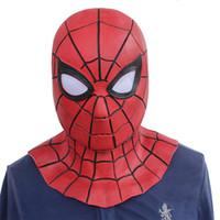 demir örümcek maskesi toptan satış-2018 Film Avengers 3 Infinity Savaş Demir Örümcek Adam Cosplay Maskeleri Örümcek-Adam Lateks Superhero Yetişkin Sahne Parti Cadılar Bayramı