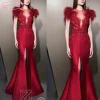 ingrosso cinture di raso di sequin-Ziad Nakad Prom Dresses rosso con piume paillettes perline di cristallo con cintura abiti da sera fessura anteriore in raso arabo