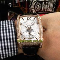 ingrosso orologi da polso in pelle bianca-Luxury New KALPA GRANDE GOLD PF011967.01 Quadrante bianco grande quadrante automatico meccanico orologio da uomo in oro rosa con diamanti cinturino in pelle orologi