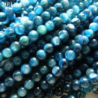 gelbe jaspis halskette großhandel-Freies Verschiffen (ungefähr 100beads / Set / 28g) A + natürliches 5-5.3mm blaues Kyanite glatte runde Steinperlen für die DIY Schmuckherstellung
