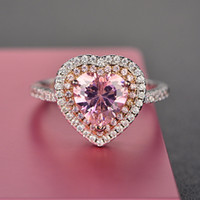 серебряный розовый топаз кольцо оптовых-Rings For Women S925 Sterling Silver Pink Heart Topaz Gemstone Fine Jewelry Romantic Cute Wedding Engagement Ring Accessoires Y1892607