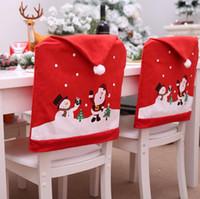 kırmızı sandalye örtüleri toptan satış-Noel Sandalye Kapakları Kırmızı Noel Şapka Merry Christmas Sandalye Arka Kapak Noel Partisi Dekorasyon 60x49 cm