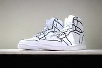 el boyaları ayakkabıları toptan satış-2018 Karikatür 3D kalem Vides x Fırtına 1 Saf Beyaz El Boyalı Basketbol Ayakkabı Kadın Erkek DIY moda Tasarımcısı Sneakers