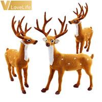 Wholesale deer plush doll - 15 20 25cm Reindeer Christmas Deer Doll Xmas Elk Plush Simulation Christmas Decorations For Home New Year Gifts Navidad