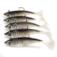 señuelos de la pesca de la lubina al por mayor-Señuelos suaves 5 unids / lote 10.5g 8 cm pesca Shad gusano cebos Jig Head pesca con mosca de mar carpa Wobbler cebo señuelos de pesca