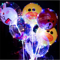 """Wholesale Transparent Latex Balloon - LED Cartoon Balloon Luminous Transparent Bobo Ball Night Light Up Balloons Toys 18"""" Flashing Balloon with Stick Handle Festival Party Decor"""