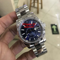 Wholesale Mens Crown Watch - Luxury Mens Watches Mechanical Automatic Movement SKY 326934 Blue Dial Sapphire Glass Concealed Folding Crown Clasp Super Watches 41MM