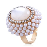 Wholesale pearl rings prices for sale - Group buy European Popular Pearl Rings Rhinston Alloy Band Ring For Wedding Pary Engagement Crystal Ring Women Fashional Jewelry Cheap Price