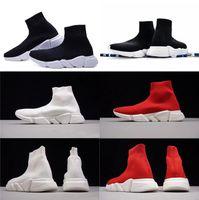 toile de texture achat en gros de-2018 Designer Chaussures New Mens Paris Célèbre chaussures de marque de luxe avec semelle blanche texture Top Qualité designer Chaussette Chaussures pour femmes taille 36-47