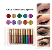 colores magicos cosmeticos al por mayor-Diamond Liquid Eyeshadow Makeup10 Colors Glitter Liquid Eyelin Magic Eyeshadow Cosmetic Glitter Eyeshadow Makeup Envío gratis