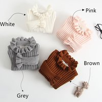 Wholesale sweater mother daughter - 2018 Baby Girls Pullover Solid Colors Striped Ruffled Mother Daughter Clothes Children Knitted Sweaters Turtle Neck